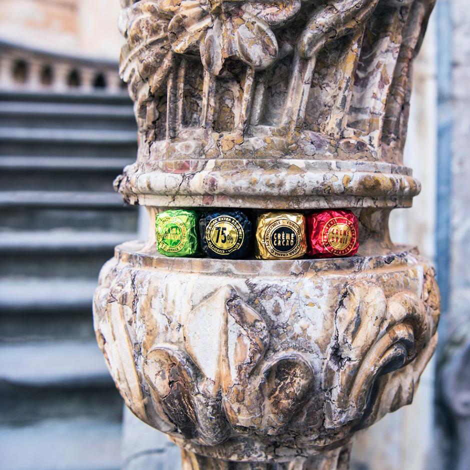 Iconic Chocoviar chocolates in historical environment