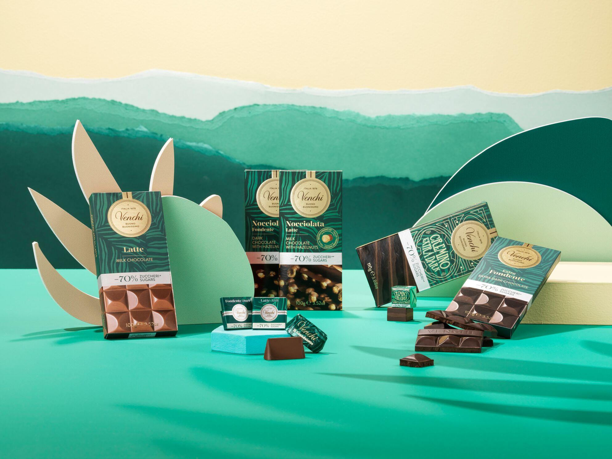 venchi italian chocolate 70% less sugar gluten free